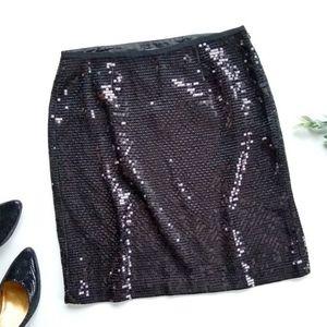 ANN TAYLOR black sequined pencil skirt